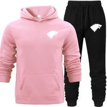 Fashion Men Hoodies Suits Brand Tracksuit Sweatshirts+Sweatpants Autumn Winter Fleece Hooded Pullover Elastic Waist Pants