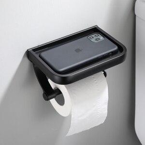 Image 2 - Pintura preta dupla suporte de papel fixado na parede acessórios do banheiro telefone rack prateleira do banheiro espaço material alumínio