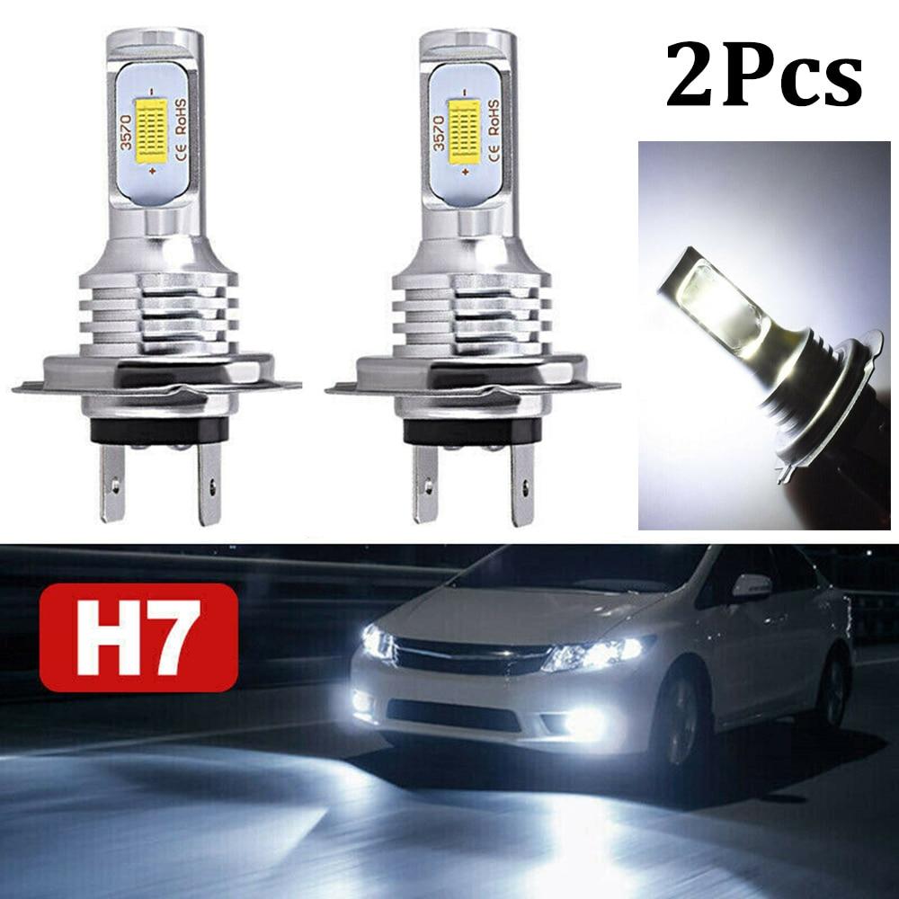 2pcs H7 LED Headlight Bulb Beam Kit 12V 55W LED Super Bright Car Light Headlamp CSP H7 Hi/Lo Beam Conversion Globes Bulbs 8000Lm