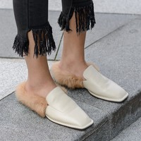 BELLECOM 2019 new winter women's shoes low heel square head leather high density rabbit hair lazy wool slippers
