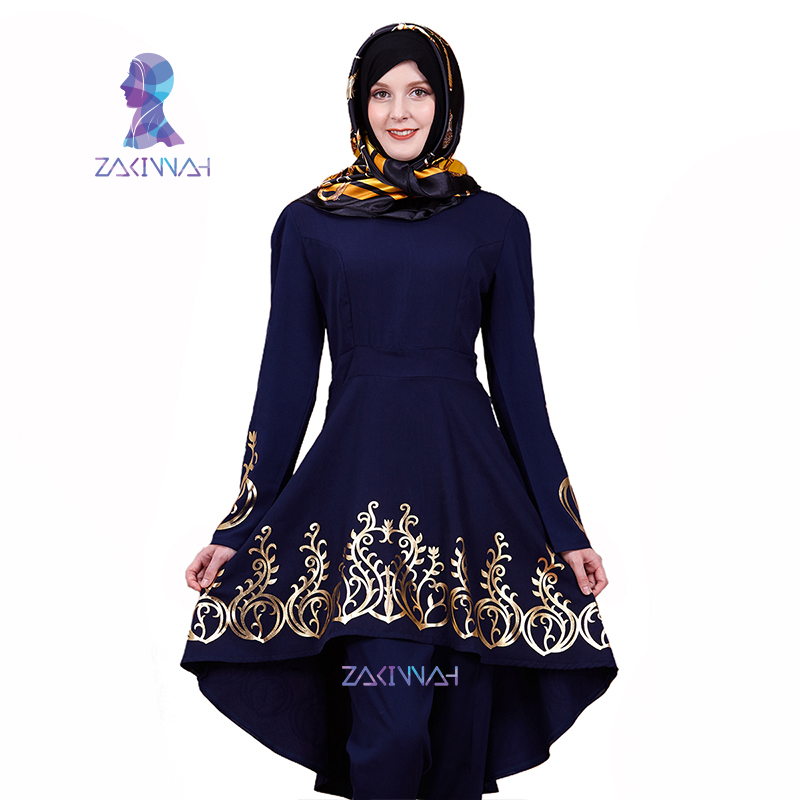 ZK009 Fashion Muslim Solid color hot stamping top gilded Printing Women's clothing Middle East Ramadan Islamic Abaya