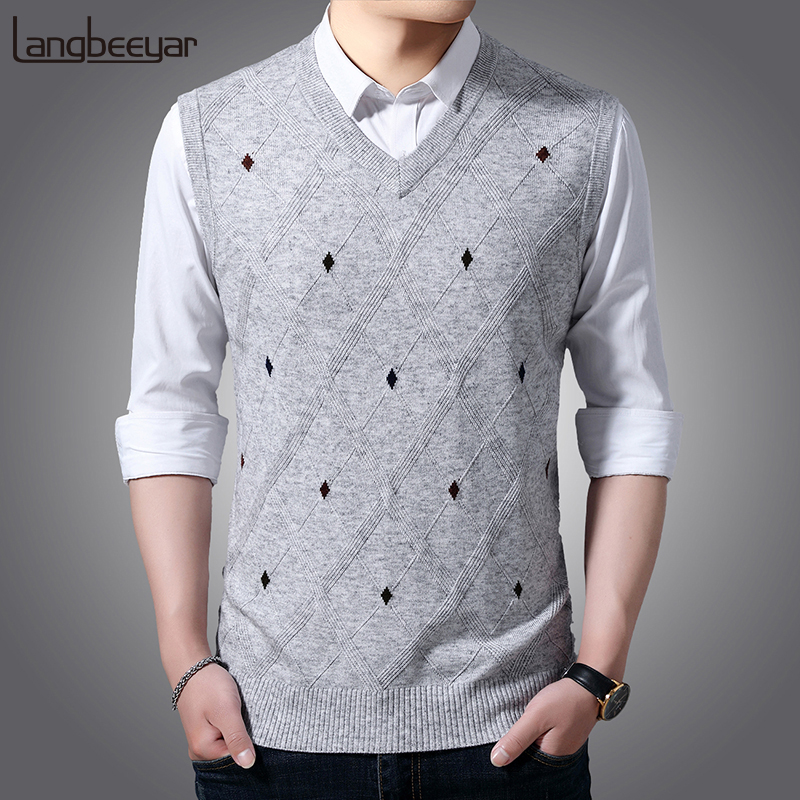 Fashion Brand Vest Sweater For Mens Pullover V Neck Slim Fit Jumpers Knitting Patterns Autumn Sleeveless Casual Clothing Men