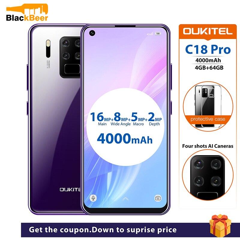 """Oukitel c18 pro 6.55 """"4g celular android 9.0 mt6757 4 gb 64 gb smartphone octa núcleo de impressão digital celular 4000 mah al câmeras"""