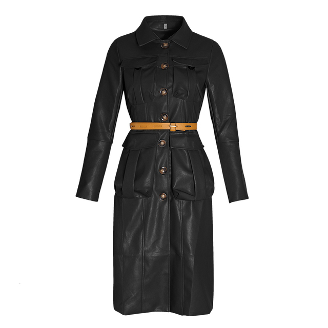 TWOTWINSTYLE PU Leather Women's Windbreaker Lapel Collar Long Sleeve High Waist Trench Coats Female 2020 Autumn Fashion New