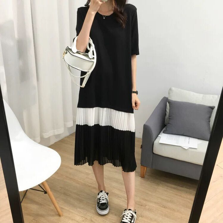 Chiffon Joint Viscose Pleated Dress Women's Summer Versatile Loose-Fit Slimming Mid-length Crew Neck Short Sleeve T-shirt Dress
