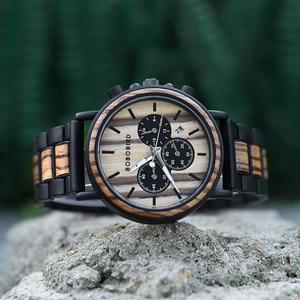Image 2 - BOBO BIRD ไม้นาฬิกาผู้ชาย Relogio Masculino Luminous Luxury TOP ยี่ห้อ Chronograph นาฬิกา erkek Kol saati Drop Shipping