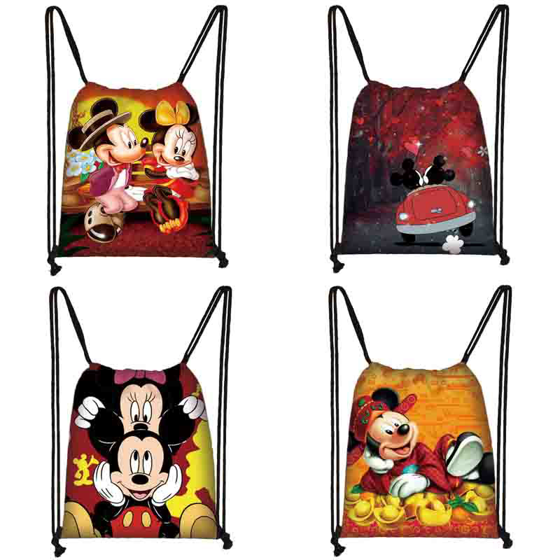 Mickey Minnie Print Drawstring Bag Women Travel Bag Teenager School Bag Brown Girl And Boy Backpack Fashion Female Storage Bag P
