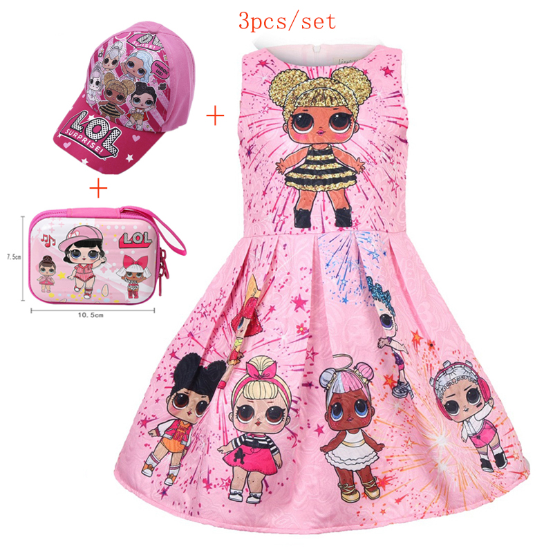 Kids Girls Lol Princess Dress Cute Elegant Children Clothes Summer Sleeveless Dolls Print Pleated Girls Dress Vestidos Costume