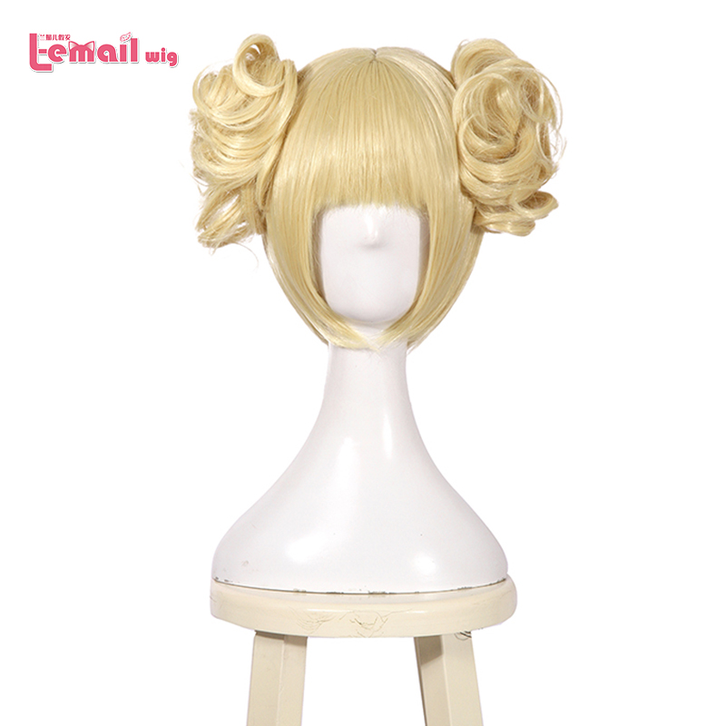 L-email Wig My Hero Academia Himiko Toga Cosplay Wigs Short Blonde Cosplay Wig With Buns Halloween Heat Resistant Synthetic Hair