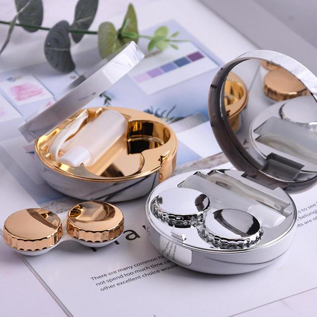 Femmes Portable lunettes de voyage conteneur lentilles de Contact boîte boîtier en marbre forme ronde en plastique or/argent/or Rose/Rose boîte rouge