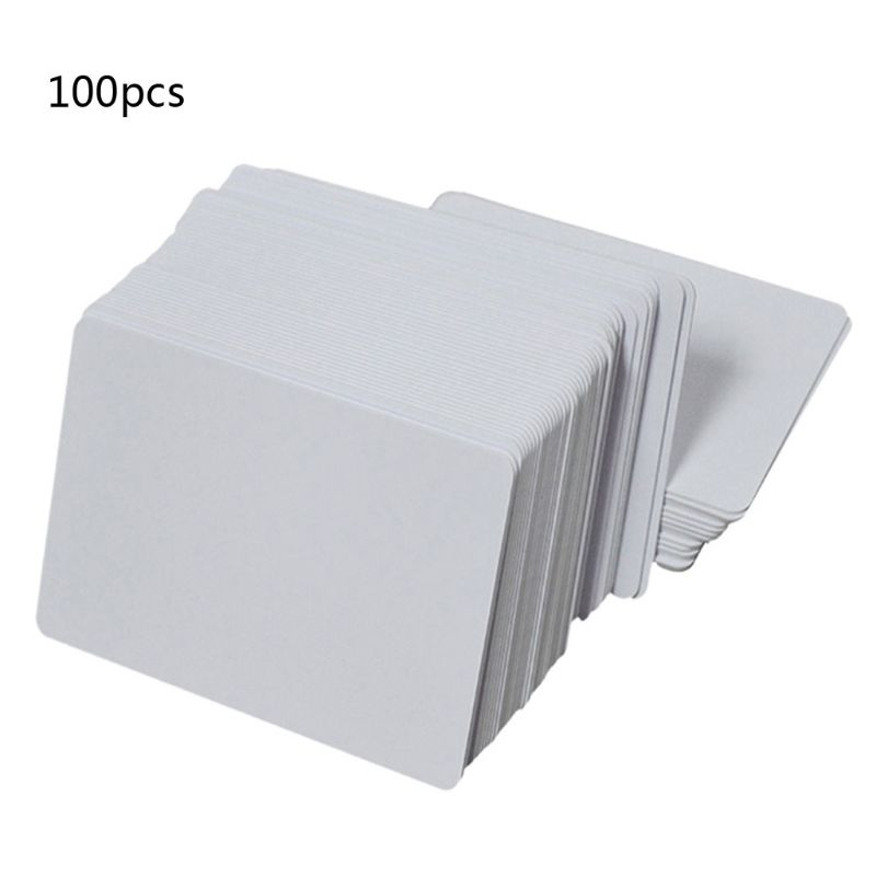 100Pcs Premium White Blank Inkjet PVC ID Cards White Plastic Double Sided Printing DIY ID Badge Cards