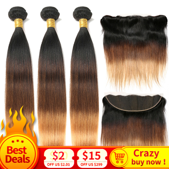Brazilian Straight Hair Weave Bundles with Closure 3/4 Remy Ombre Human Hair Bundles with Lace Frontal Closure 1b/4/27 1b/4/30