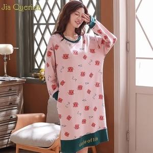 Image 5 - 寝間着睡眠ドレス綿長袖秋ナイトガウンかわいいピンク漫画印刷ナイトシャツプラスサイズsleepshirts女性