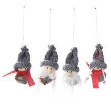 Christmas Mini Doll with Bell Pendants 2pcs Xmas Hanging Ornament Baubles for Holiday New Year Home Decoration