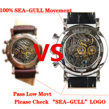 2020 New Watch Men Mechanical Hand Wind Luxury Brand Leather Fashion Chronograph