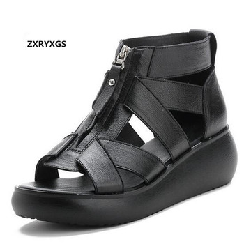 Promotion New Breathable Summer Shoes Woman Genuine Leather Sandals 2020 Front Zipper Retro Summer Shoes Platform Wedges Sandals