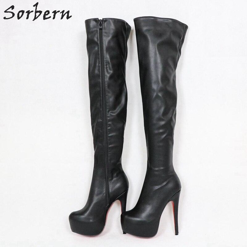 Stivali Donna Tacco 12 Plateau Blk Str Faux Leather Pleaser SEDUCE 3028 SED3028BPU SED3028BPU