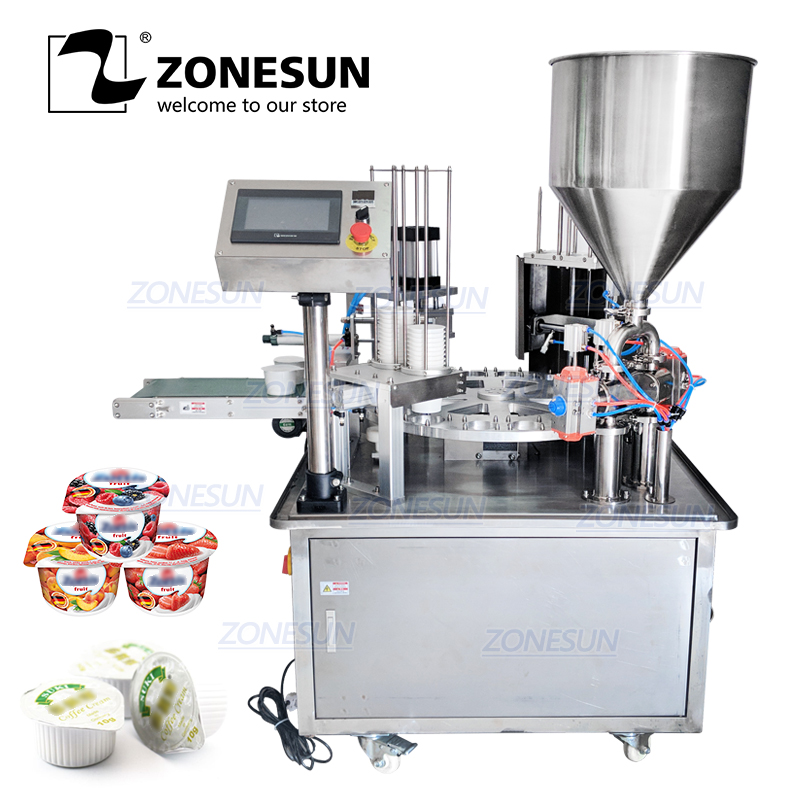 ZONESUN Automatic Jelly Yogurt Ice Cream Juice Sugar Honey Alcohol Gel Filling Rotary Cup Discal Capping Sealing Machine