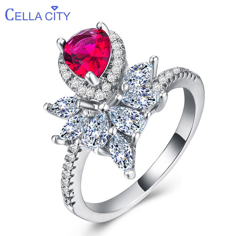 Cellacity Trendy Silver 925 Jewelry Water Drop Shaped Gemstones Ring For Women Ruby Zircon Crown Engagement Wedding Rings Gift