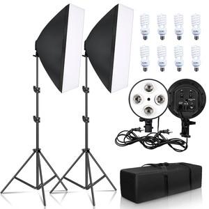 Image 1 - צילום תאורת 50x70CM ארבעה מנורת Softbox ערכת E27 מחזיק עם 8pcs הנורה רך תיבת AccessoriesFor תמונה סטודיו וידאו