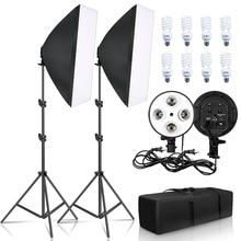 Fotoğraf aydınlatma 50x70CM dört lamba Softbox kiti E27 tutucu ile 8 adet ampul yumuşak kutu aksesuarları fotoğraf stüdyo Video