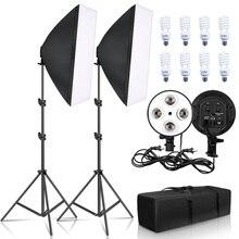 Fotografie Beleuchtung 50x70CM Vier Lampe Softbox Kit E27 Halter Mit 8 stücke Birne Weiche Box Perlen baby haar Zubehörfür Foto studio Video