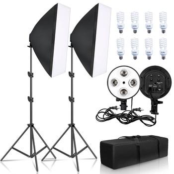 Fényképészeti világítás 50x70 cm-es négy lámpa softbox készlet E27 tartó 8db izzó lágydoboz tartozékokkal fotóstúdióhoz