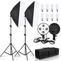 SH fotografía Kit de iluminación Softbox cuatro lámpara equipo Softbox 50x70CM suave equipos de caja de E27 Base para foto de estudio de disparar