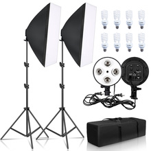 Zestaw oświetleniowy fotograficzny z dwoma softboxami 50x70 cm, oświetlenia dla fotografa, dwa softboxy, 2x4 żarówki z gwintem e27, akcesoria do studia fotograficznego