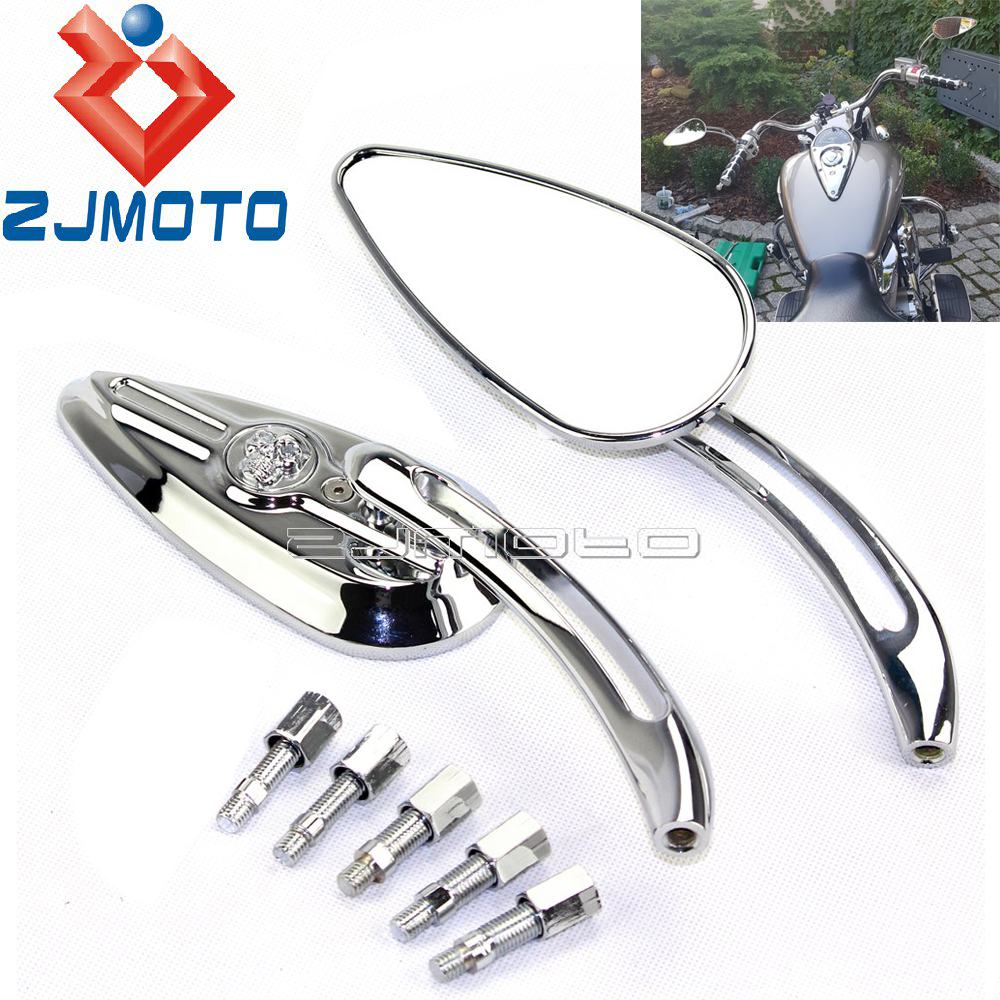 Universal Chrome Motorcycle Rearview Mirrors For Harley Dyna Softail Sportster Custom Skull Teardrop Side Mirrors Side Mirrors & Accessories Automobiles & Motorcycles - title=