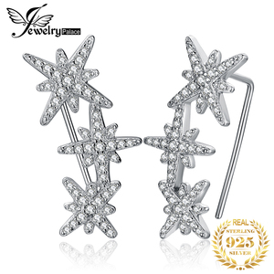 Image 1 - JewelryPalace כוכב מעוקב Zirconia עגילי חישוק 925 עגילי כסף סטרלינג לנשים קוריאני עגילי תכשיטים 2020