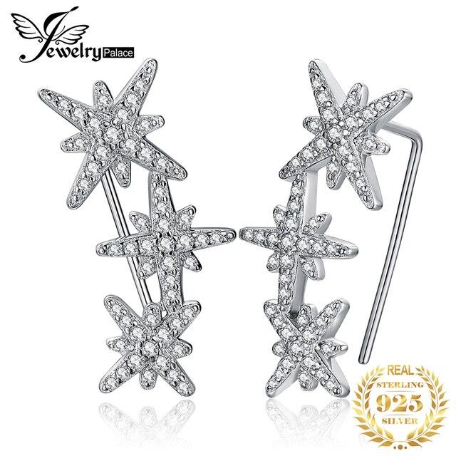 JewelryPalace כוכב מעוקב Zirconia עגילי חישוק 925 עגילי כסף סטרלינג לנשים קוריאני עגילי תכשיטים 2020