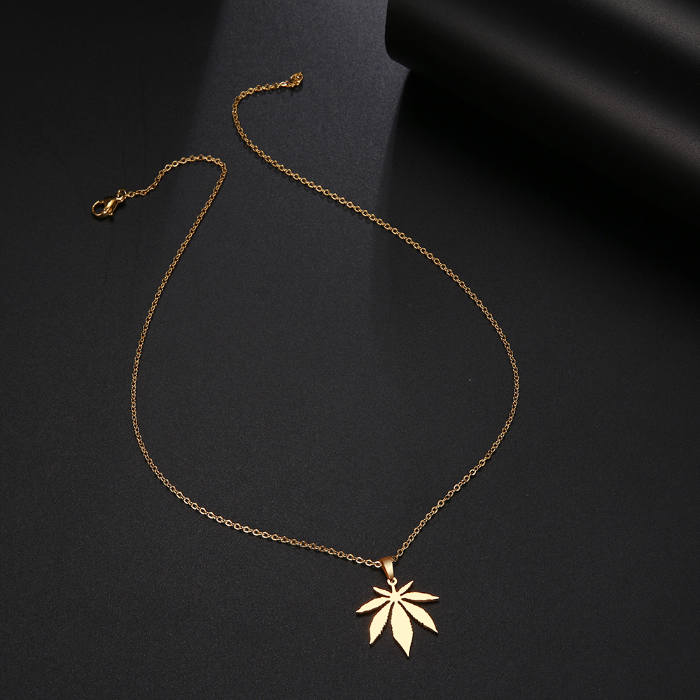 DOTIFI Stainless Steel Necklace For Women Man Maple Leaf Choker Pendant Necklace Engagement Jewelry 4
