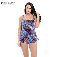 JLI MAY Sexy Multicolo Print Swimwear Bowknot Backless Bandage Two Piece Bikini Hot Spring Beach Women Swimsuit Plus Size