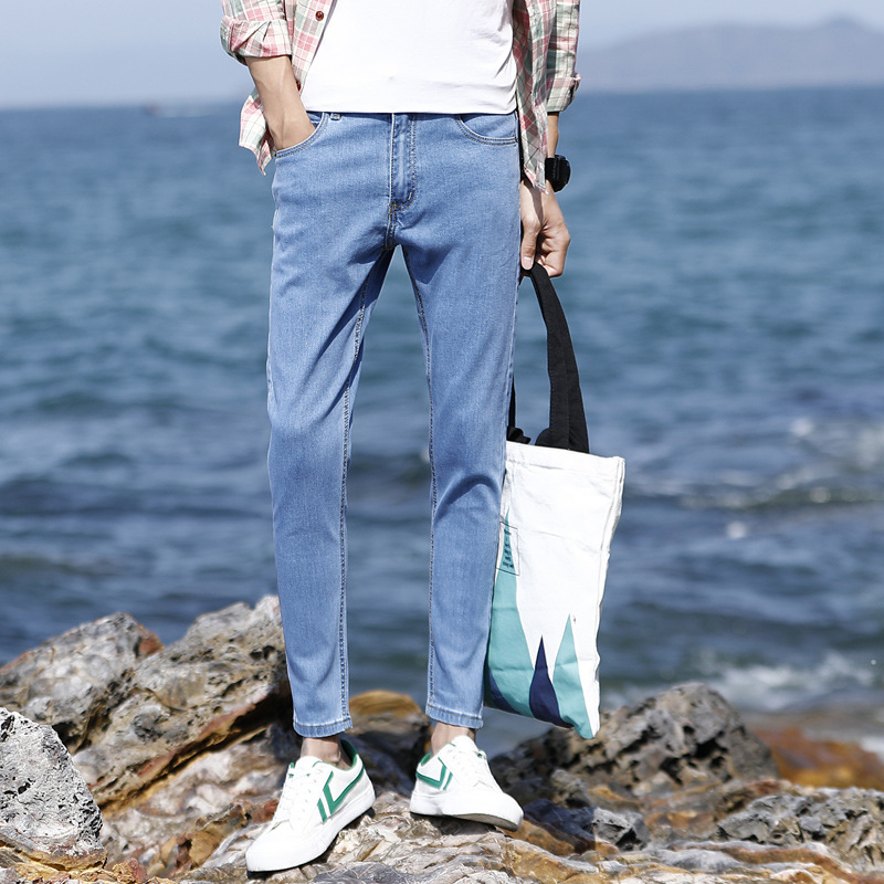 Summer Thin Section Men Elasticity Jeans Young MEN'S Korean-style Slim Fit Explicit Thin Skinny Capri Pants