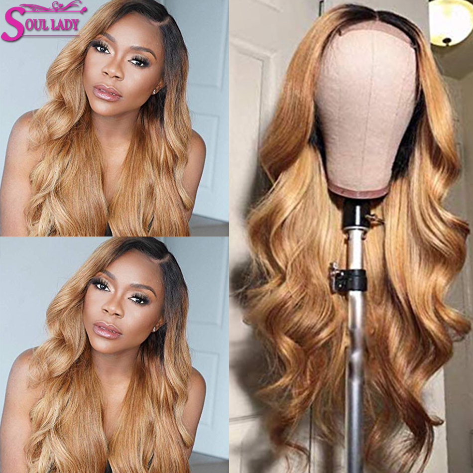 Soul Lady Honey Blonde Highlight Wig Body Wave 1b 27 Ombre Human Hair Wig Bleached Knots Glueless Indian Remy Lace Wig For Women