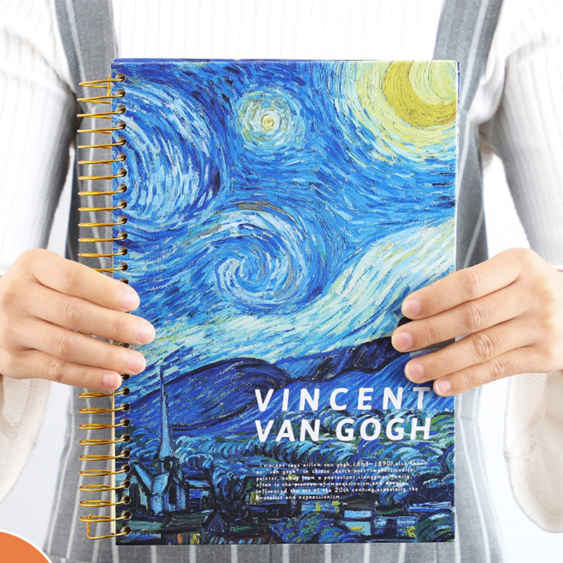 B5 Spiral Notebook Paper Planner School Diary Note Book Calender Travelers Study Retro Large Painting Notebook Literary