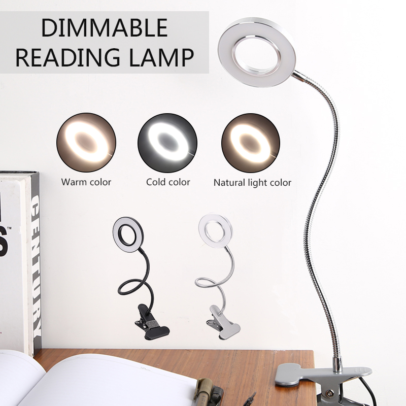 Adjustable Clip-on Portable LED Book Reading Light Lamp Flexible USB Rechargeable Beside Bed Desk Table Light