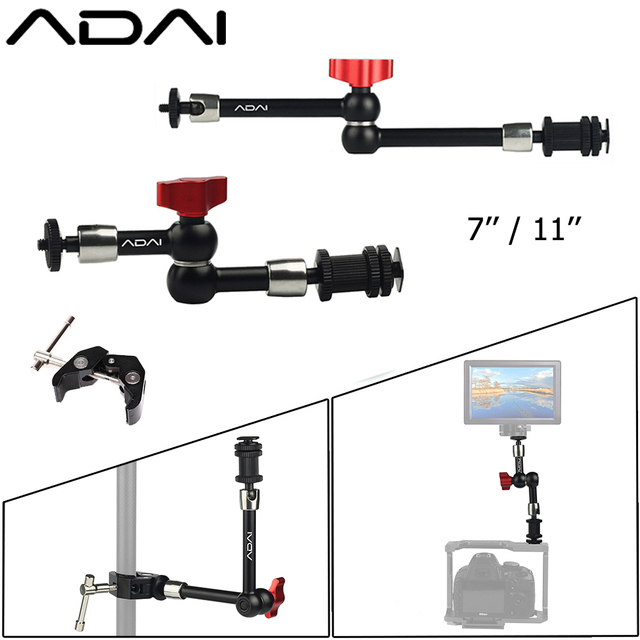 """ADAI 7"""" 11"""" Adjustable Magic Arm for Mounting HDMI Monitor LED Light Video Flash Camera DSLR Magic Articulated Arm Super Clamp"""