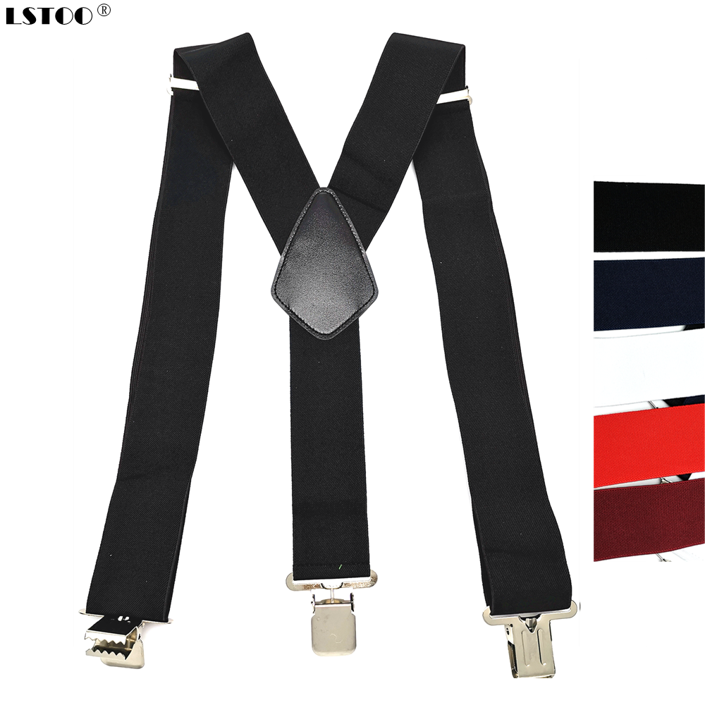 Large Strong Clips On Men Suspenders Unisex Braces 50mm Wide 5 Solid Color High Elastic Adjustable Suspender Belt For Heavy Work