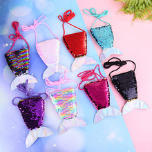 HUISHI Crossbody Bags Paillette Mermaid Tail Sequins Coin Purse For Children Girls Crossbody Bags Money Card Holder Wallet Kids