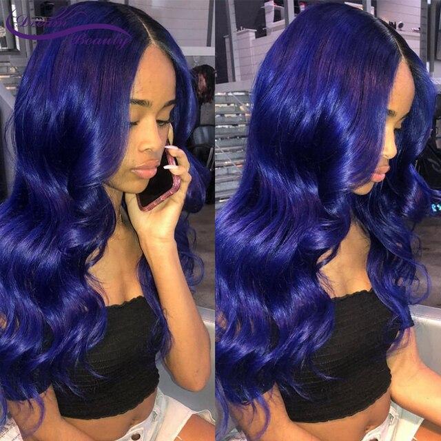 Синий парик из человеческих волос, парик синего цвета, волнистый парик на сетке спереди, предварительно выщипанный с детскими волосами, безклеевые парики на сетке спереди