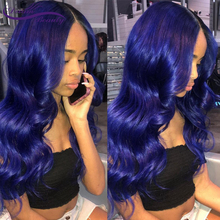 Blau Perücke Menschliches Haar Perücke Blau Farbige Wellenförmige Spitze Vorne Perücke Pre Gezupft Mit Baby Haar Glueless Lace Front Perücken