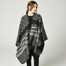 Woman's New Diamond Shaped Shawl High-end Female Double-sided Wear Out Travel Cloak(China)