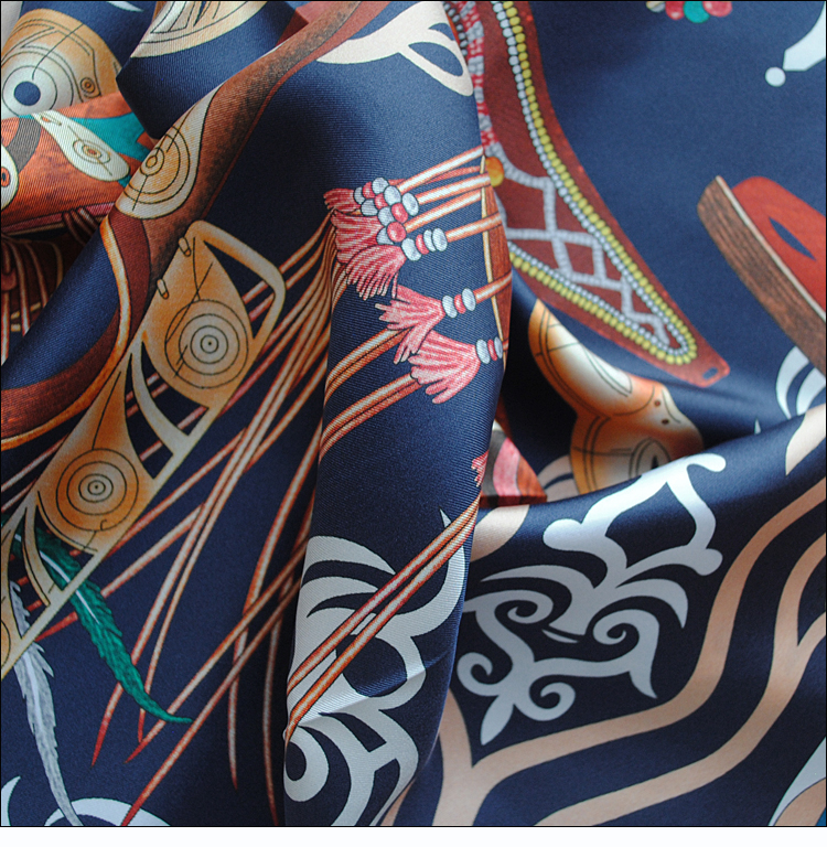 "Image 5 - HuaJun 2 Store Navy Green Unisex ""Le Regard de l'Arctique"" 90 silk square scarf Twill inkjet scarf-in Men's Scarves from Apparel Accessories"