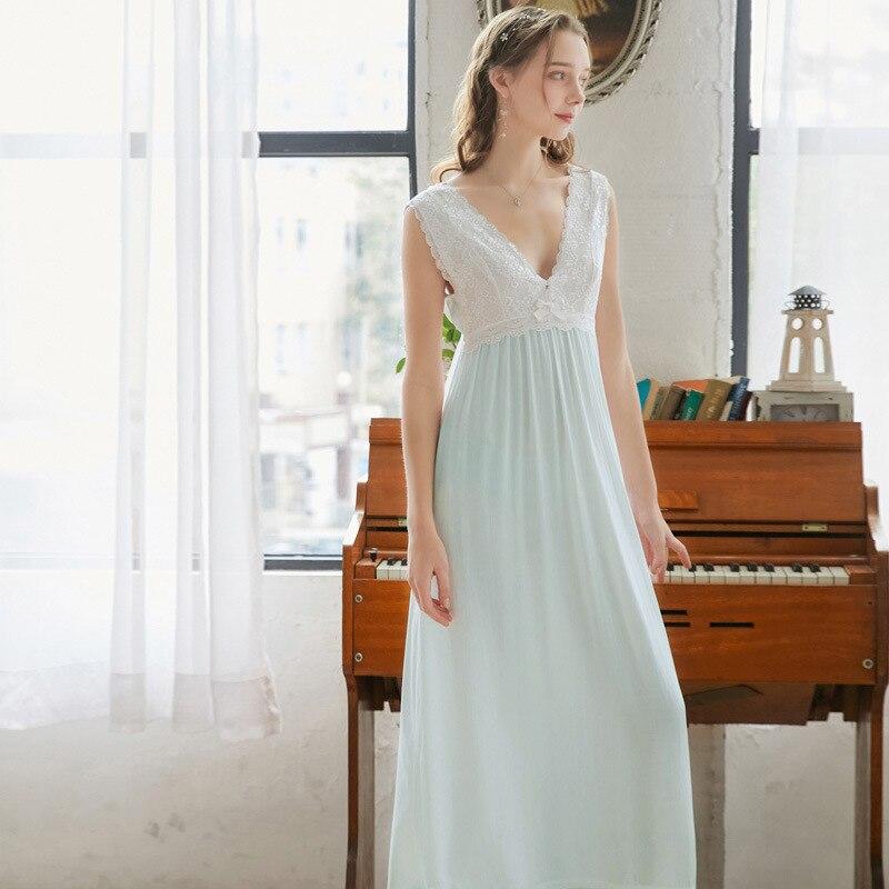 Хлопковая ночная рубашка без рукавов с V-образным вырезом, сексуальное кружевное длинное платье на бретельках, милая длинная юбка для сна, ж...
