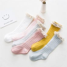 Cotton Children's Knee High Socks with Lace Cheap Stuff Ruffle Socks Kid