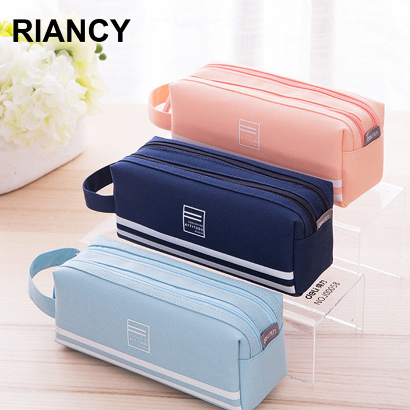 School Pencil Cases Bag пенал Solid Color Canvas Large-capacity School Student Supplies Lapis Stationery Storage Bag 05176