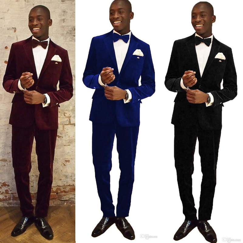 Velvet 2 Pieces Men Suits For Wedding Notched Lapel Two Button Prom Suits Slim Fit Costume Mariage Homme Tuxedos(Coat+Pant)