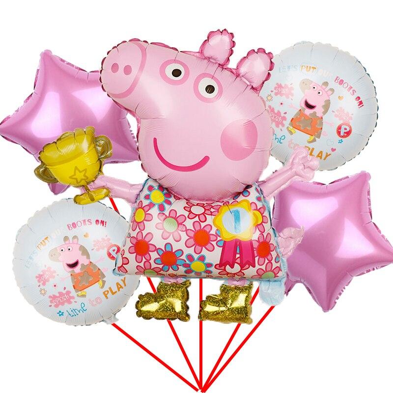 1 комплект со Свинкой Пеппой; Фольга шарики baby shower для мальчиков и девочек, globos, подарок на день рождения, день рождения украшения Детские игр...